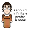 aurumcalendula: cartoon-ish image of Mary with quote about prefering a book (book)