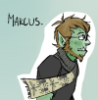 halforcnationalist: A drawing of me as an orc, wearing a scarf with an insect pattern. (scarf)