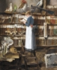 thekingofelfland: an oil painting of a young woman reading in a library full of stuffed birds. She is dressed like a Victorian maid. (girl in library, maid reading, painting)