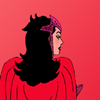 rudmich: Photo of Scarlet Witch as she appears in her latest solo comic run. She is facing away, in tones of red. (wandaicon1)