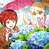 mikogalatea: Mahiru and Hiyoko from Dangan Ronpa 3, happily kneeling before some blue flowers. ([DR3] Hiyoko/Mahiru)