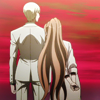 mikogalatea: Kyousuke and Chisa from Dangan Ronpa 3, standing before a red sky. Chisa is leaning into Kyousuke's shoulder. ([DR3] Kyousuke/Chisa)