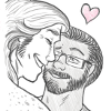 lb_lee: A pencil drawing of Mac and Rogan canoodling with a little heart above their heads. (love)