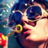 orangeae: girl blowing bubbles (blowing bubbles)