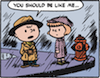 krpalmer: Charlie Brown and Patty in the rain; Charlie Brown wears a fedora and trench coat (charlie brown)