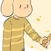 justletmewin: 90% chance it's Chara (hell, it IS Chara in the original pic) (Your hand in mine)