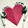 elaineofshalott: Two earbuds on either side of a red paper heart, above which is written 'listen...i love you'. (listen)
