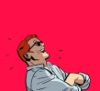 elliceluella: An image of Matt Murdock from the comics laughing, set against a pink background (matt murdock)