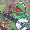 milesy: Acrylic painting of Kermit the Frog (Default)