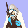 hunter_of_gunmen: A stylized drawing depicting Ana sitting down, her rifle between her knees. (Default)