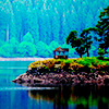 sixbeforelunch: cabin on a lake, no text (cabin on a lake)