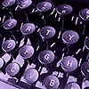 angelbabe_cj: closeup of round typewriter keys with a purple filter (typey typey typewriter)
