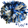 azurelunatic: blue and silver pompoms, with a textual representation of a person holding up pompoms to cheer. (pompoms, cheer, sparkly)