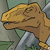 so_many_crystals: Dr Dinosaur peering out from behind a rock, looking smug (reptilian genius)