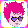 rainbow: drawing of a pink furred cat person with purple eyes and heart shaped glasses. their name is catastrfy. (0)