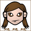 """northern: cartoon version of my face. text: """"me me me"""" (avatar me)"""