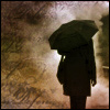 northern: black silhouette of a person with an umbrella over their head (dark in the rain)