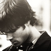 salire: photo of Jared Padalecki looking down (supernatural - jared black&white)