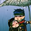 amielleon: Tiny cartoony Soren clinging to Ike under a leaf in a rainstorm. (Ike/Soren: Little Shelter)