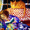 turlough: woman sitting in sofa corner reading with snoozing cat behind her on the sofa back,  art by Kim Parkhurst ((other) reading is one of life's joys)
