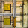 klgaffney: A highly geometric stained glass window designed by Frank Lloyd Wright. (The art of home and living)