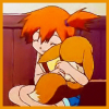 brightknightie: Misty picks up and hugs eevee (Pokemon Go)