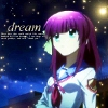 "celestialdescent: Image: Yuri Nakamura from Angel Beats! stares ahead; the word ""dream"" and some tiny text are on the upper left side. (default2)"