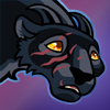 naamah_darling: Cartoony picture of a black panther with curved horns and a red ball in his mouth. He wants to play. (Jandar Sad)