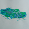 raininshadows: Watercolor drawing of a pair of blue and green running shoes, unlaced. (running shoes)
