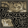 """naamah_darling: """"Vengeance and Valor"""" over a background of assorted steampunky objects. (Vengeance and Valor)"""