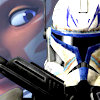sharpest_asp: Fulcrum in background of TCW Captain Rex in Armor (Star Wars: Fulcrum and Jaig Eyes)