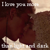 "sathari: Anakin and Padme's wedding kiss with the caption ""I love you more than light and dark"" (Balance of the Force- Anakin/Padme)"