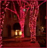 sotto_voce: Trees strung up in red-pink Christmas lights with giant blue-lit spheres hanging from the boughs ([scenery] turn on the lights)