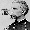 "sotto_voce: Joshua Chamberlain staring into the distance, with caption ""brains are sexy"" ([misc] yuletide!!!)"