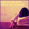 """sotto_voce: woman face-down on a stack of files, with Decemberists lyrics caption """"lacking my joie de vivre"""" ([misc] joie de vivre)"""