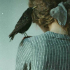 antigone: A woman with a bow in her hair, facing away, with a crow on her shoulder (starry-eyed)