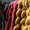 kittydesade: Skeins of yarn hanging to dry, in view yellow and red, deep blue behind. (fiber arts is all)