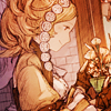 alphastarr: Lissa from FE13 looking gently at flowers in a vase. (soft, lissa)