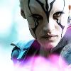 nenya_kanadka: Jaylah, chalk-white face, black markings (ST Jaylah)
