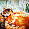 turlough: two fluffy cats curled up together sleeping, ) art by Мария Павлова ((other) sleepy)
