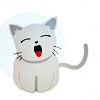 turlough: cartoon of tiny white kitten yawning, artist unknown ((other) adorable)