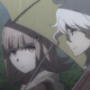 mikogalatea: Nagito and Chiaki from Dangan Ronpa 3, talking in the rain while holding umbrellas. ([DR3] Nagito/Chiaki)