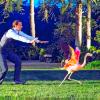 sholio: man chasing flamingo (Flamingo)
