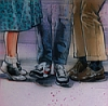 kleenexwoman: The legs and shoes of three different people, looking as flirtatious as legs and shoes can be.  (Three pairs of shoes)