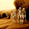 anaraine: Clone Troopers Jek and Rys assisting an injured Lieutenant Thire to safety. ([star wars] he's not heavy)