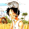 peophin: («One Piece» Luffy and cat)