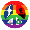 longstrider: Rainbow peace sign filled with FNCL dove, Union fist, recycle symbol and book (activism)