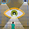 moem: Person being watched by large eyes (cybersecurity)