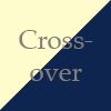 morgynleri: the word crossover in medium gray over pale yellow and deep blue (crossover)