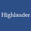morgynleri: the word highlander in white over a dark grayed blue (highlander)